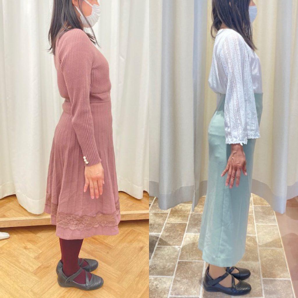 カーテンの前に立つドレスを着た女性たち  中程度の精度で自動的に生成された説明